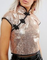 ASOS PETITE Sequin Chinoiserie Top with Mandarin Collar | glittering oriental style tops