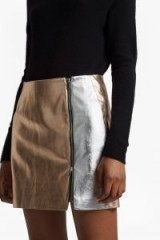 FRENCH CONNECTION AUDREY PU MINI SKIRT | metallic silver/rose gold skirts