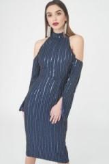 Lavish Alice Beaded Cold Shoulder Chiffon Midi Dress ~ blue bead embellished party dresses