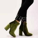 PUBLIC DESIRE BEATBOX ROUND TOE BLOCK HEEL ANKLE BOOTS IN GREEN VELVET ~ jewel tone boot