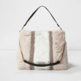 River Island Beige block colour faux fur chain handle bag – fluffy bags