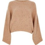 RIVER ISLAND Beige flecked knit crew neck boxy jumper   speckled jumpers