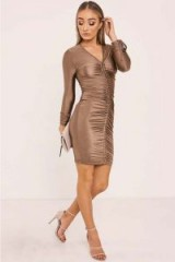 IN THE STYLE BENTE GOLD SLINKY RUCHED LONG SLEEVED DRESS ~ metallic bodycon party dresses