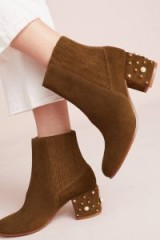Bettye by Bettye Muller Samantha Pearl Boots / pearl embellished chunky heels