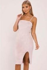BILLIE FAIERS CREAM FAUX SUEDE SIDE SPLIT MIDI DRESS ~ strappy party dresses