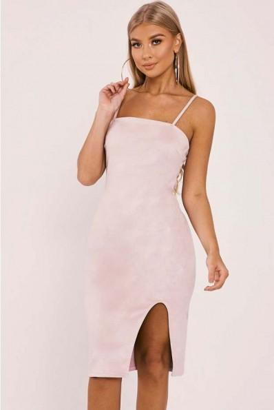 cf01f7ec7058 BILLIE FAIERS CREAM FAUX SUEDE SIDE SPLIT MIDI DRESS ~ strappy party dresses