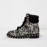 River Island Black boucle pearl stud trim biker boots ~ studded flat boots