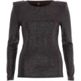 River Island Black glitter shoulder pad fitted top ~ glam party tops