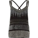 River Island Black sequin embellished cross back cami top ~ party tops