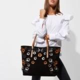 River Island Black suede 3D flower tote bag | pretty floral bags