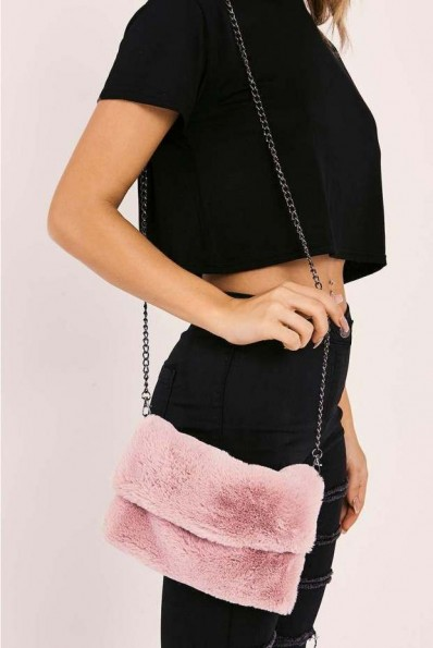 IN THE STYLE BLUSH PINK FAUX FUR BAG ~ fluffy shoulder bags ~ cute clutch