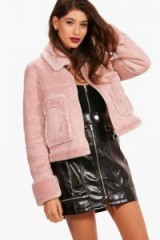 boohoo Boutique Emma Faux Fur Pocket Aviator Jacket – dusky pink jackets