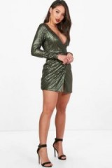 boohoo Boutique Marlin Sequin Wrap Bodycon Dress – glamorous plunge front party dresses – green sequins