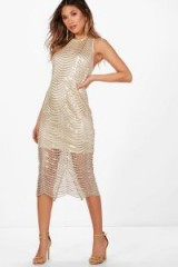 boohoo Boutique Zoe Sequin Open Back Midi Dress – gold semi sheer party dresses – evening glamour