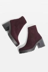 TOPSHOP BRICK Knitted Sock Boots ~ burgundy ~ chunky heel
