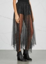 FREE PEOPLE Brightest Star tulle maxi skirt ~ sheer black metallic skirts