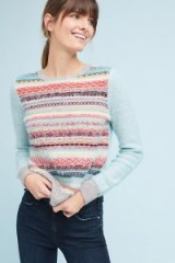 Knitted & Knotted Brionne Lurex Stripe Ruffle Neck Jumper   soft luxe style jumpers