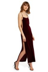 CALLIPYGIAN MAXI SIDE OPEN DRESS | long plum colour dresses | strappy party wear