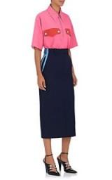 CALVIN KLEIN 205W39NYC Colorblocked Piqué Pencil Skirt | straight blue midi skirts