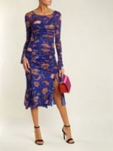 DIANE VON FURSTENBERG Canton-print ruched mesh dress ~ feminine dresses
