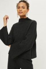 Topshop Cashmere Ribbed Jumper   luxe style funnel neck jumpers
