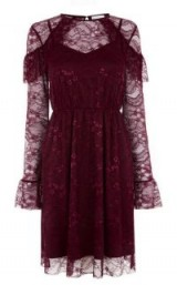 WAREHOUSE CHANTILLY LACE DRESS ~ dark red party dresses