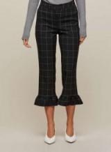 Miss Selfridge Checked Frill Hem Trousers / check print cropped leg pants