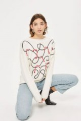 TOPSHOP Christmas Candy Cane Jumper – ivory xmas jumpers