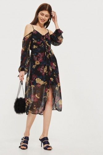 Band of Gypsies Cold Shoulder Midi Dress – semi sheer strappy floral dresses