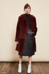 TOPSHOP Collarless Toscna Faux Fur Coat – fluffy burgundy winter coats – dark red