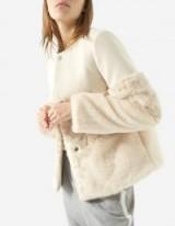 Stradivarius Contrasting faux fur coat | luxe style winter coats | nuetrals