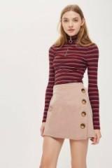 Topshop Cord Asymmetric Wrap Mini Skirt | pale pink skirts
