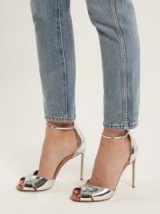 FRANCESCO RUSSO Crossover metallic-silver leather sandals