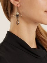 ALEXANDER MCQUEEN Crystal and pearl spider-drop earrings ~ statement jewellery