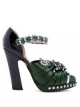 NO. 21 Crystal-embellished green satin and leather pumps