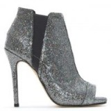 DANIEL Apeep Silver Metallic Glitter Ankle Boots – sparkly peep toe booties