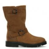 DANIEL Goldeye Tan Leather Pull On Biker Boots – light brown buckle boot