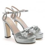 DANIEL Morian Silver Leather Knotted Platform Sandals – metallic party platforms
