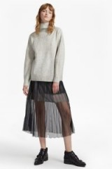 FRENCH CONNECTION DAPHNE LUREX JERSEY MIDI SKIRT | tulle overlay skirts