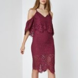 River Island Dark pink broderie lace bodycon midi dress ~ cold shoulder party dresses
