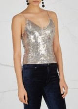 ALICE + OLIVIA Delray sequinned top ~ metallic-silver sequin tops ~ strappy evening clothing