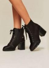 Miss Selfridge DESTINY Satin Lace Ankle Boots – black chunky heels