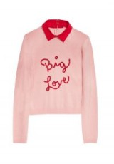 Alice + Olivia DIA EMBROIDERED BIG LOVE PULLOVER / pink slogan jumpers