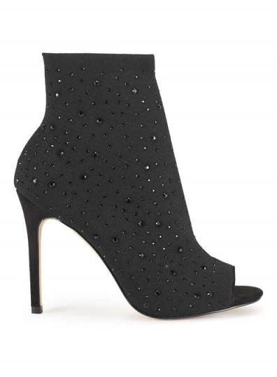 Miss Selfridge DUKE Embellished Shoe Boots – peep toe booties