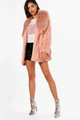 boohoo Elizabeth Boutique Mix Faux Fur Belted Coat – rose-pink winter coats