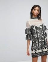 Elliatt Embroidered Frill Dress