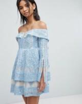 Elliatt Off Shoulder Embroidered Dress ~ sky blue party dresses