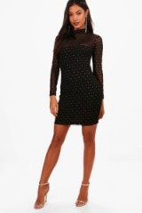 boohoo Ellie High Neck Long Sleeve Bodycon Dress – lbd – party dresses
