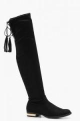 boohoo Elsa Metallic Heel Clip Flat Over the Knee Boot ~ black black tie long boots