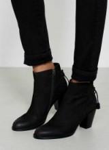 MINT VELVET ELSIE BLACK TASSEL ANKLE BOOT / tie back boots